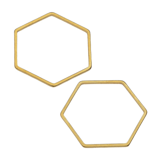 Beadable Open Frame Link, Hexagon 22.5mm, 4 Pieces, Gold Tone Steel
