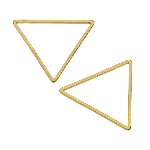 Beadable Open Frame Link, Triangle 22.5mm, 4 Pieces, Gold Tone Steel