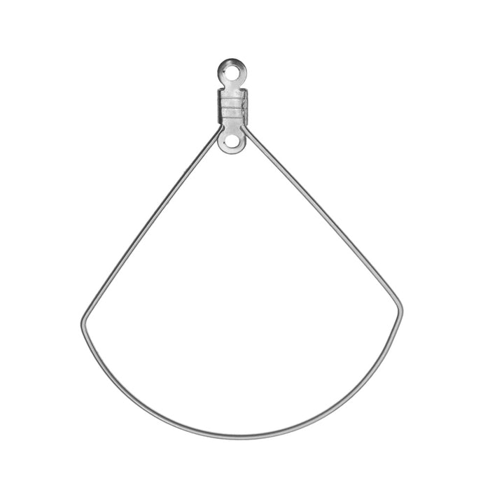 Beadable Open Wire Frame Pendant Link, Fanned Drop 36x38mm, 6 Pieces, Stainless Steel