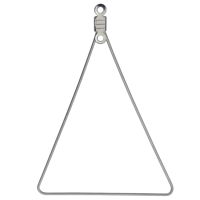 Beadable Open Wire Frame Pendant Link, Triangle 49.5x34mm, 6 Pieces, Stainless Steel