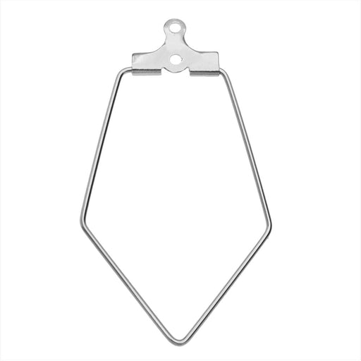 Beadable Open Wire Frame for Earrings or Pendants, Rhombus 20.5x36.5mm, 4 Pieces, Stainless Steel