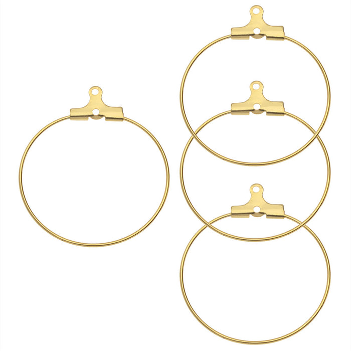 Beadable Open Wire Frame for Earrings or Pendants, Hoop 30mm, 4 Pieces, Gold Tone