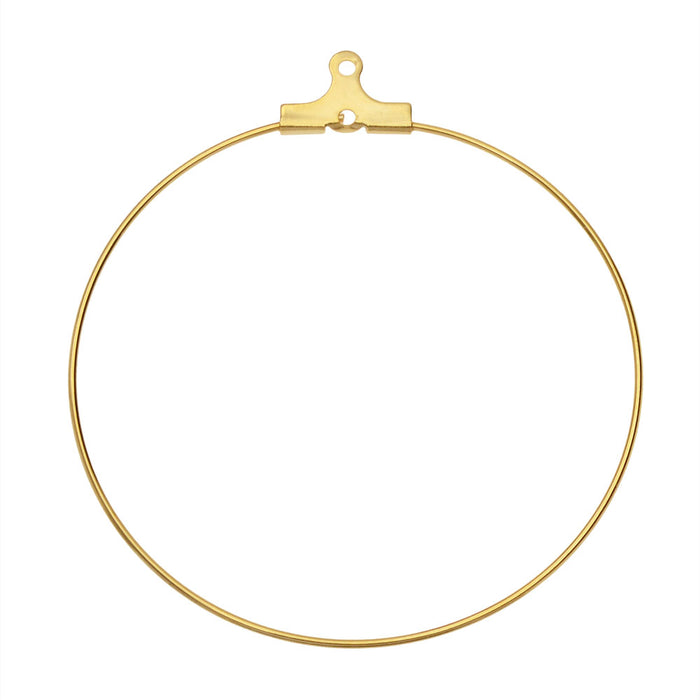Beadable Open Wire Frame for Earrings or Pendants, Hoop 45mm, 4 Pieces, Gold Tone