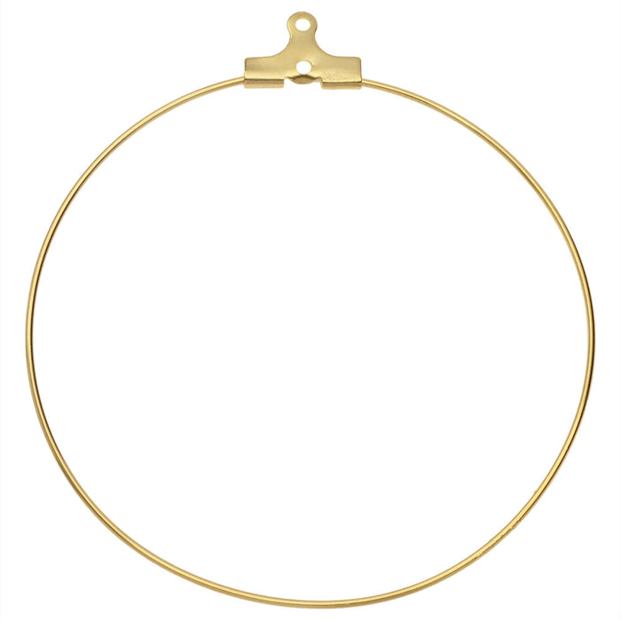 Beadable Open Wire Frame for Earrings or Pendants, Hoop 50mm, 4 Pieces, Gold Tone