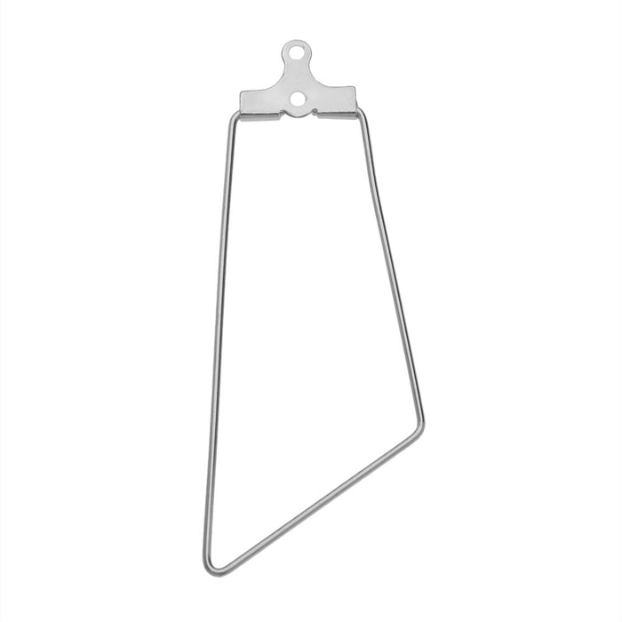 Beadable Open Wire Frame for Earrings or Pendants, Trapezoid 17.5x45mm, 4 Pieces, Stainless Steel