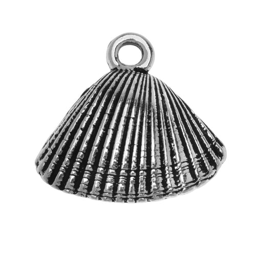 Metal Charm, Scallop Shell 17.5mm, 1 Piece, Antiqued Silver Plated, By TierraCast