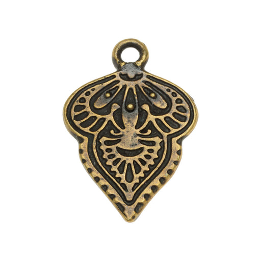 Metal Pendant, Mehndi 17x24.5mm, 1 Piece, Brass Oxide Finish, By TierraCast