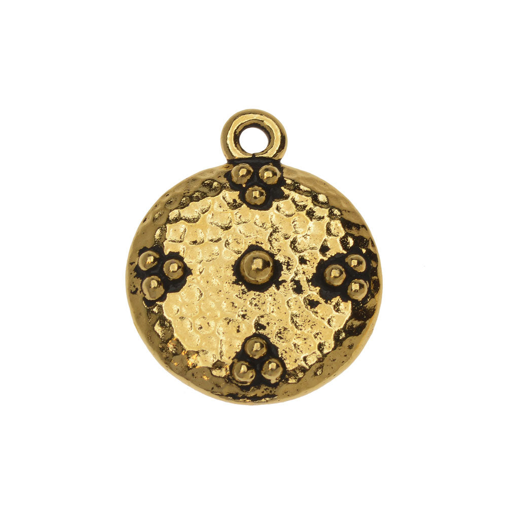 Metal Charm, Round Opulence 19mm, 1 Piece, Antiqued Gold Plated, By TierraCast