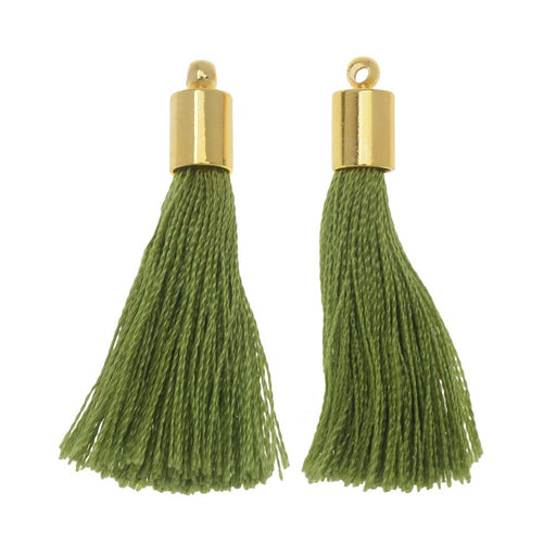 Silk Rayon Thread Pendant, Tassel with End Cap 30mm, 2 Pieces, Gold and Olive Green