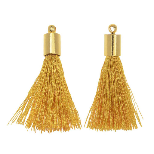 Silk Rayon Thread Pendant, Tassel with End Cap 30mm, 2 Pieces, Gold and Golden Yellow