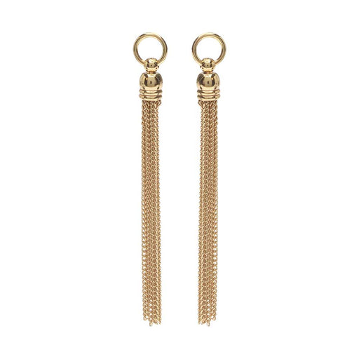 Chain Tassel Pendant, Curb Link Threads with Bell End Cap and Ring 64mm, 2 Pieces, 22K Gold Plated