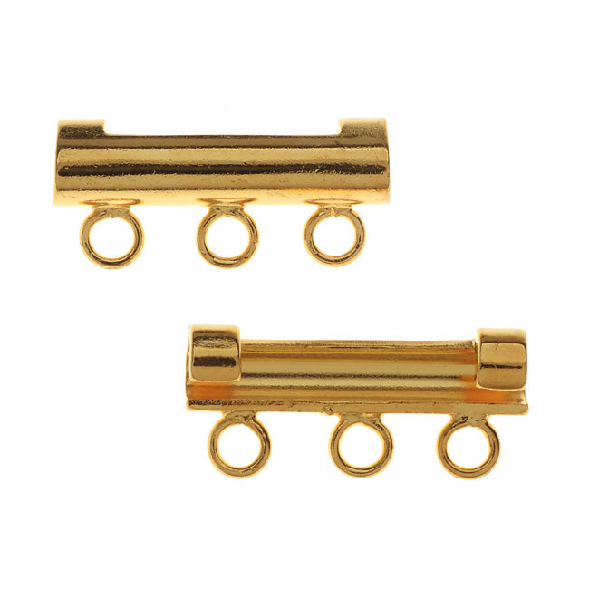 Watch Strap Adapters, 3-Strand Bar fits 18mm Lug Ends, 2 Pieces, Gold Plated