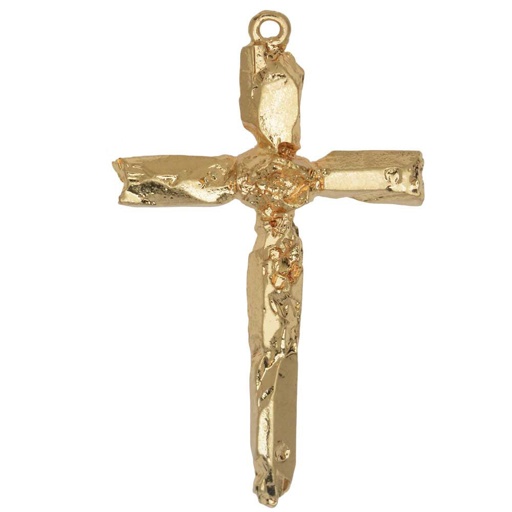 Zola Elements Pendant, Quartz Point Cross 49x29mm, 1 Piece, Satin Gold Tone