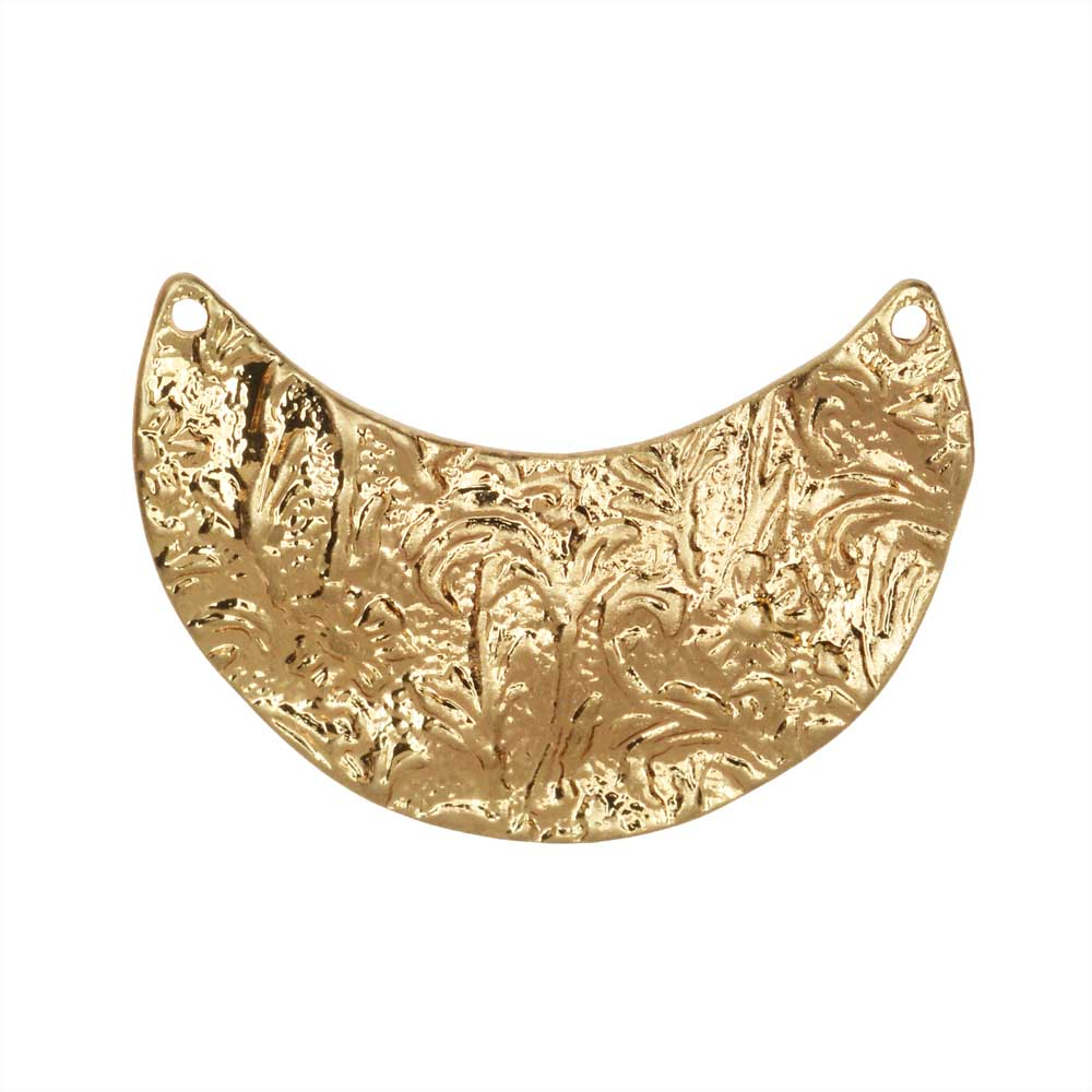 Zola Elements Pendant Link, Floral Crescent 20x29mm, 1 Piece, Satin Gold Tone