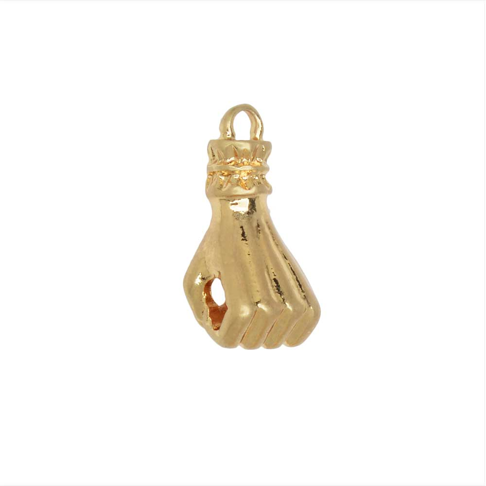 Zola Elements Charm, Fist Focal 16x7mm, 1 Piece, Satin Gold Tone