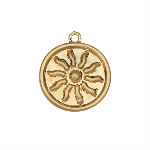 Zola Elements Pendant, Radiant Sun Coin Focal 21x18mm, 1 Piece, Satin Gold Tone