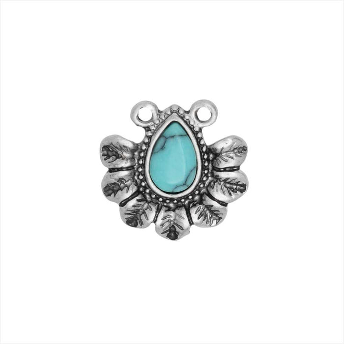Zola Elements Pendant Link, Flower Petals with Turquoise Resin 13mm, 1 Piece, Antiqued Silver Tone