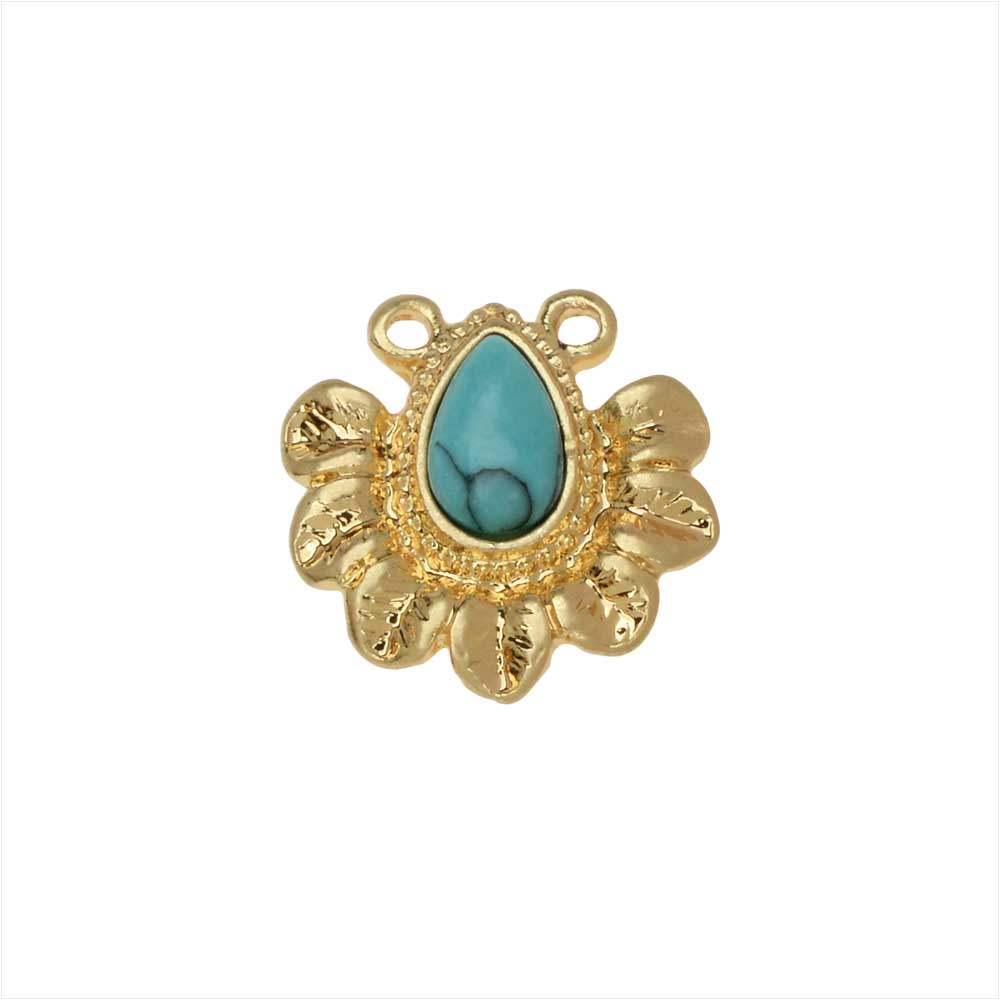 Zola Elements Pendant Link, Flower Petals with Turquoise Resin Drop 13mm, 1 Piece, Satin Gold Tone