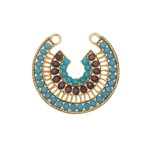 Zola Elements Pendant Link, Blue Lagoon Horseshoe 30x29mm, 1 Piece, Gold Tone