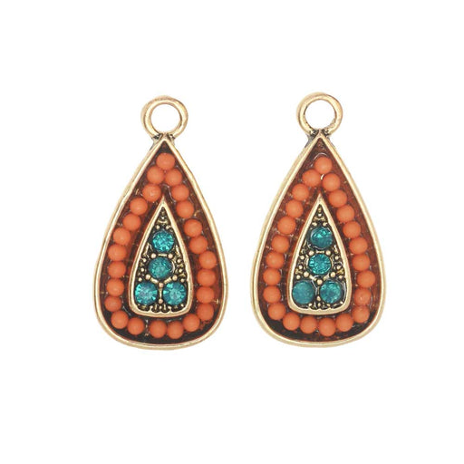 Zola Elements Charm, Beaded Teardrop 11x22mm, 2 Pieces, Antiqued Gold Toned/Orange/Turquoise