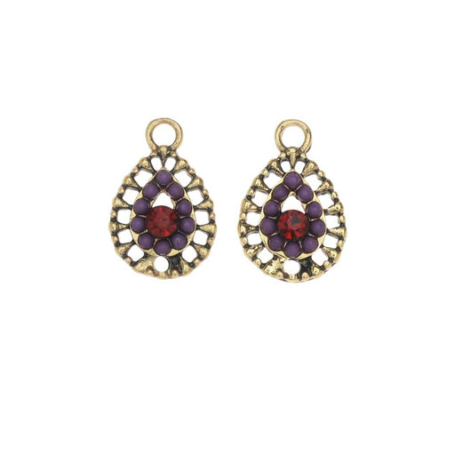 Zola Elements Charm, Crown Jewel Filigree Teardrop 11x17mm, 2 Pieces, Antiqued Gold Tone