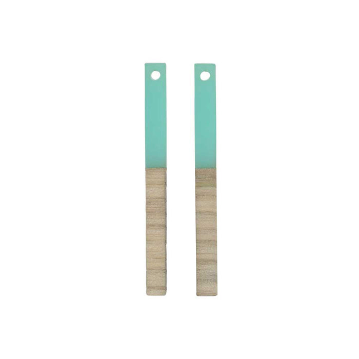Zola Elements Wood & Resin Pendant, Stick Drop 3.5x40mm, 2 Pieces, Sea Green