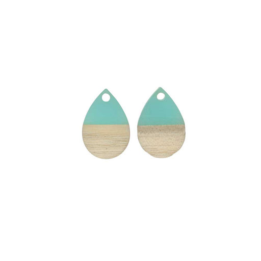 Zola Elements Wood & Resin Pendant, Teardrop 11x17mm, 2 Pieces, Sea Green