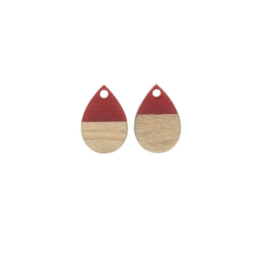 Zola Elements Wood & Resin Pendant, Teardrop 11x17mm, 2 Pieces, Dark Cherry Red
