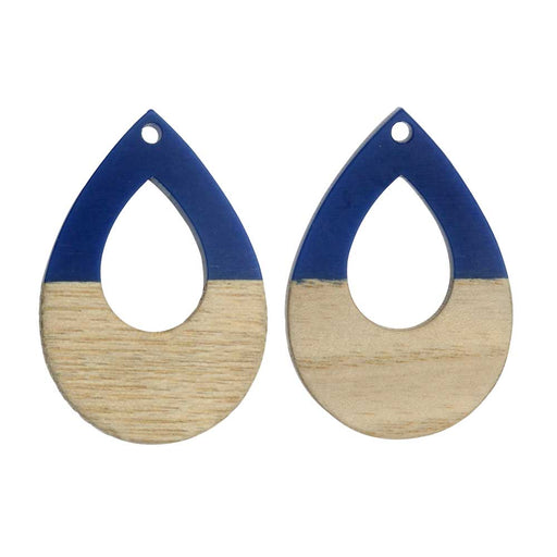 Zola Elements Wood & Resin Pendant, Open Teardrop 25x38mm, 2 Pieces, Indigo Blue