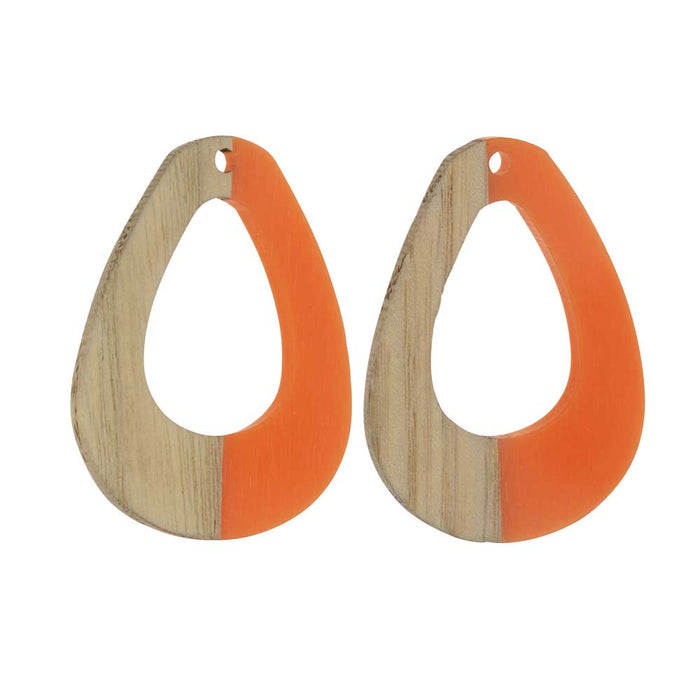 Zola Elements Wood & Resin Pendant, Open Teardrop 28x38mm, 2 Pieces, Tangerine Orange