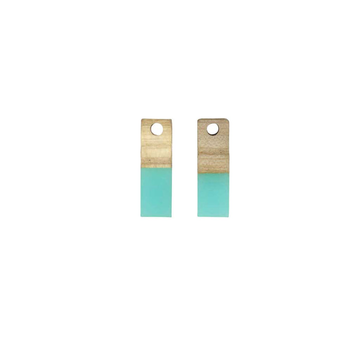 Zola Elements Wood & Resin Pendant, Rectangle 6x17mm, 2 Pieces, Sea Green