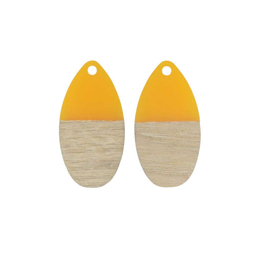 Zola Elements Wood & Resin Pendant, Teardrop 16x30.5mm, 2 Pieces, Saffron Yellow