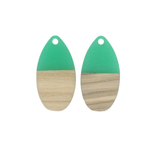Zola Elements Wood & Resin Pendant, Teardrop 16x30.5mm, 2 Pieces, Emerald Green