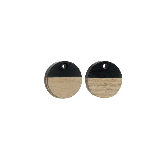 Zola Elements Wood & Resin Pendant, Coin 15mm, 2 Pieces, Jet Black