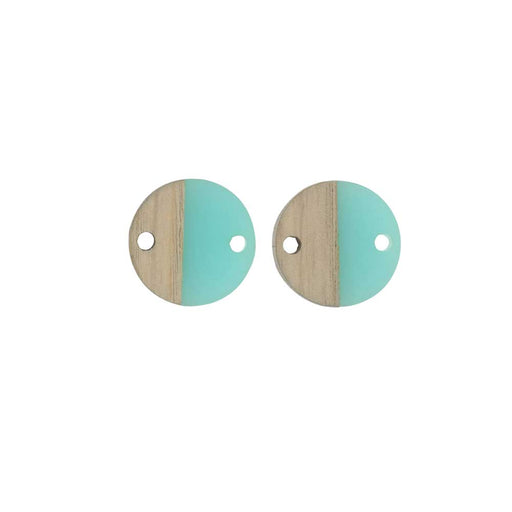 Zola Elements Wood & Resin Connector Link, Coin 15mm, 2 Pieces, Sea Green