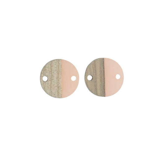 Zola Elements Wood & Resin Connector Link, Coin 15mm, 2 Pieces, Translucent Blossom Pink