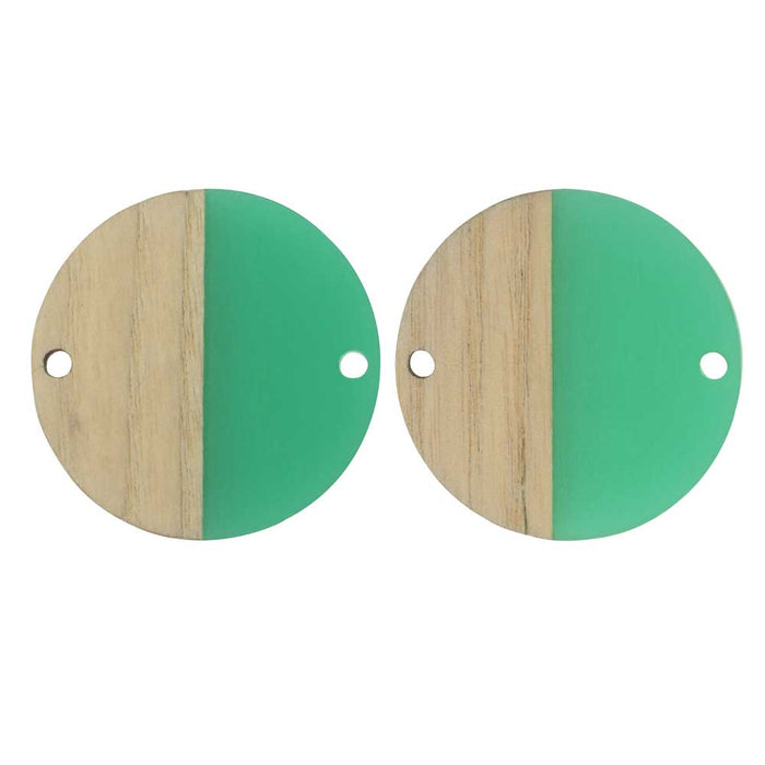 Zola Elements Wood & Resin Connector Link, Coin 28mm, 2 Pieces, Emerald Green