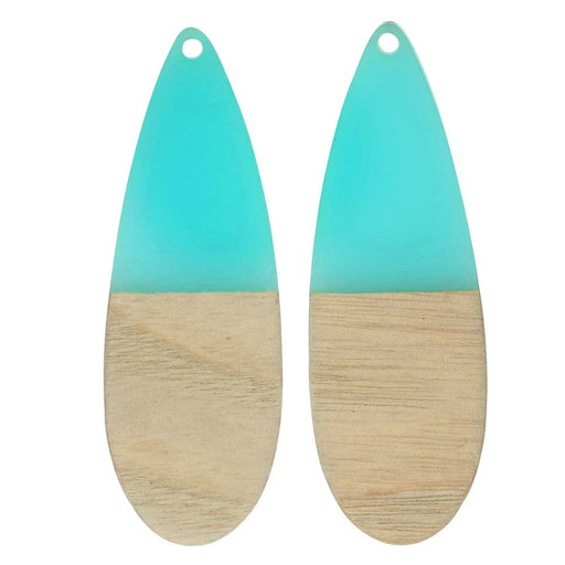 Zola Elements Wood & Resin Pendant, Long Teardrop 19x58mm, 2 Pieces, Sea Green