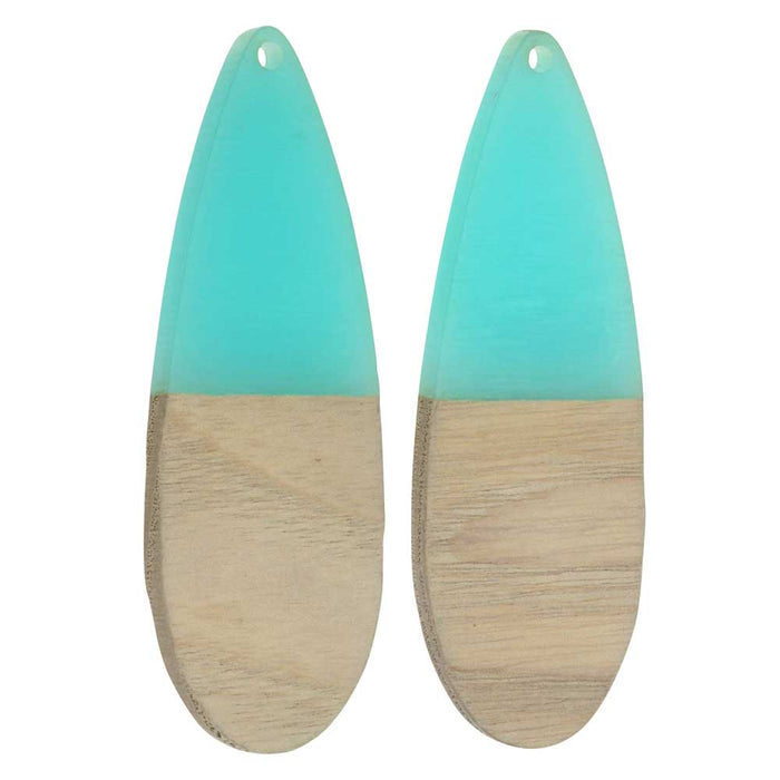 Zola Elements Wood & Resin Pendant, Long Teardrop 19x56mm, 2 Pieces, Sea Green