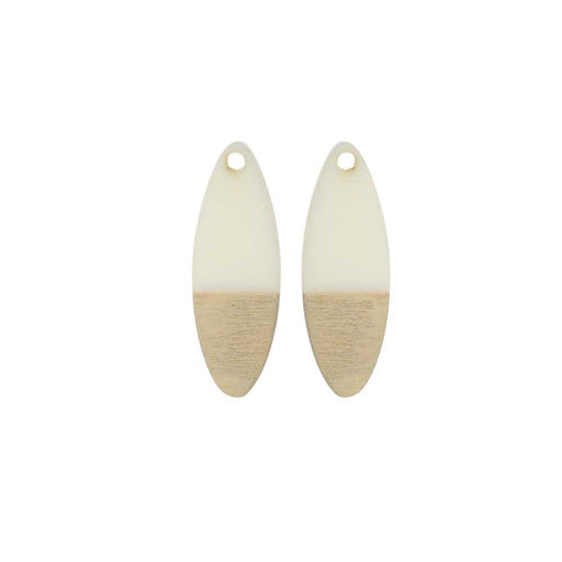 Zola Elements Wood & Resin Pendant, Oval 10x28mm, 2 Pieces, Alabaster