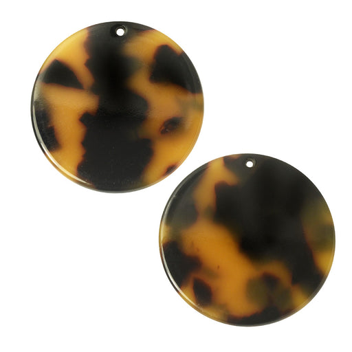 Zola Elements Acetate Pendant, Coin 30mm, 2 Pieces, Brown Tortoise Shell