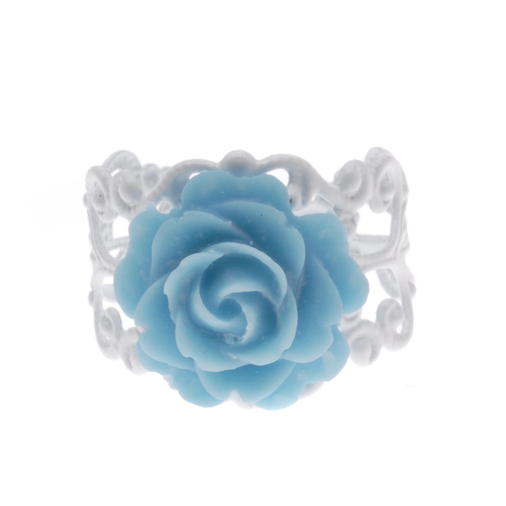 Retired - White and Blue Love in Bloom Ring