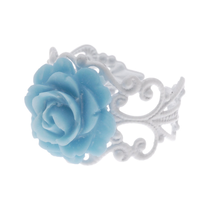 White and Blue Love in Bloom Ring