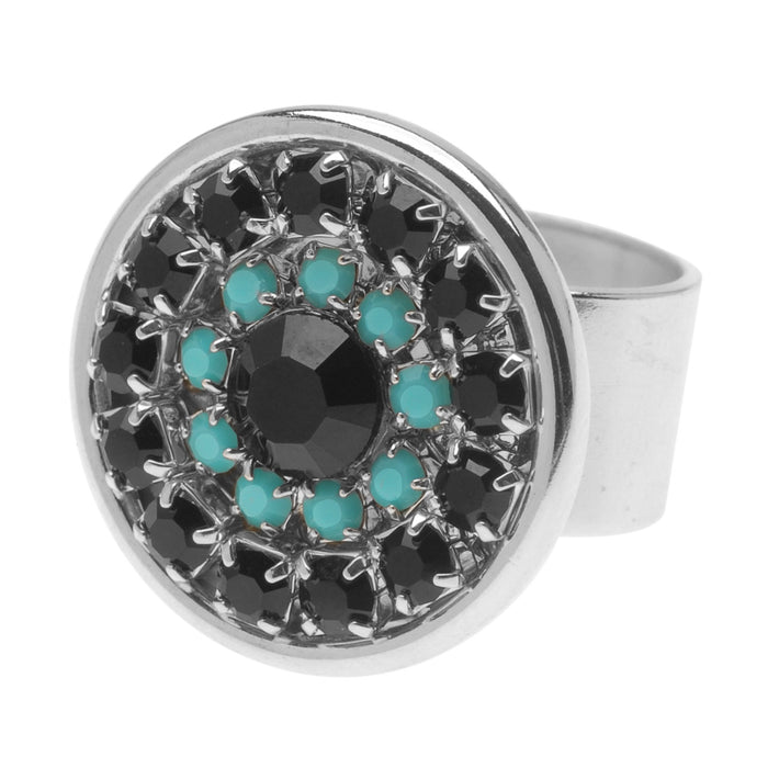Retired - Desi Ring in Jet and Turquoise