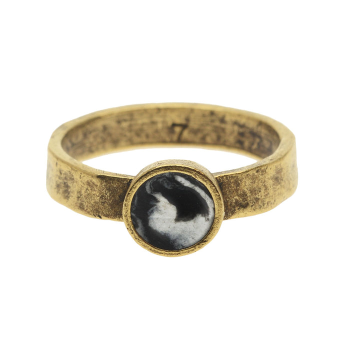 Retired - Black and White Marbled Gold Hammered Ring