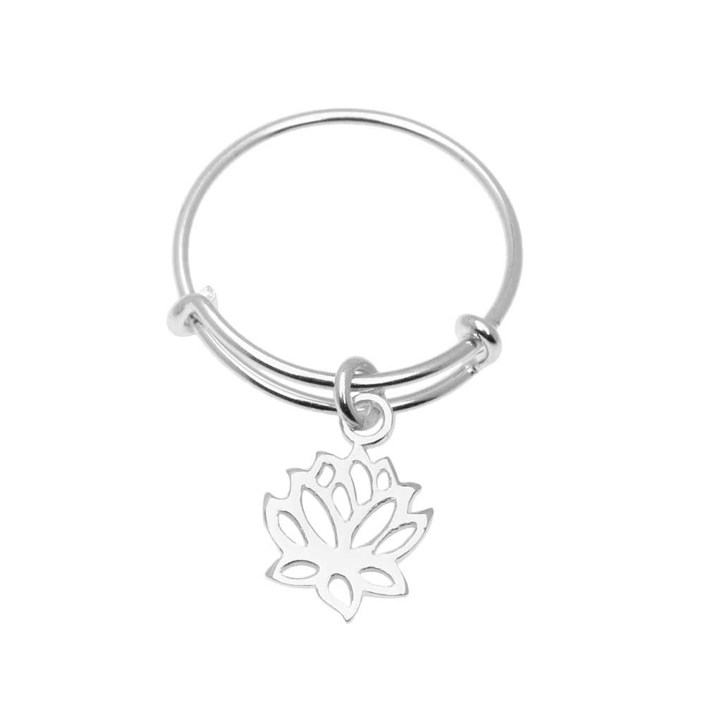 Sterling Silver Lotus Adjustable Ring