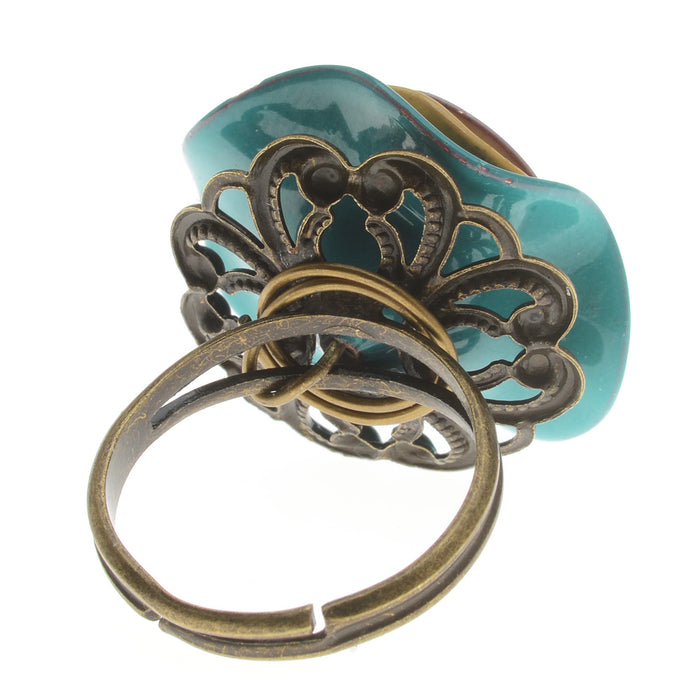 Retired - Enameled Flowers Spinner Ring