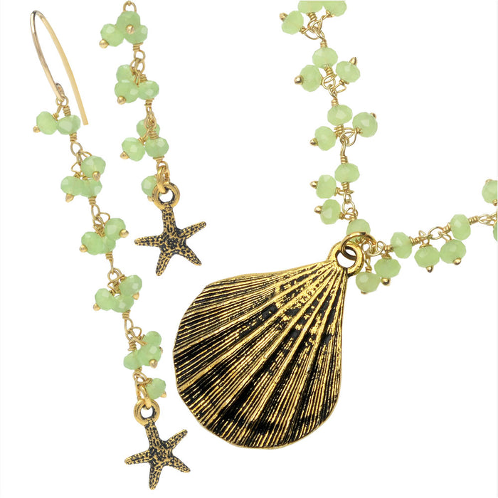 Green Sea Goddess Necklace and Earring Set