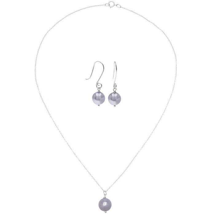 Sterling Silver Bridesmaids Jewelry Set featuring Swarovski Crystal Pearls