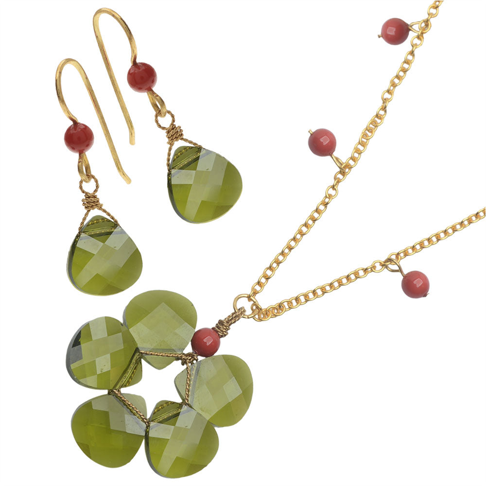 Retired - Olivine Wreath Necklace and Earring Set